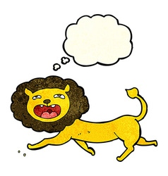 cartoon lion with thought bubble vector image