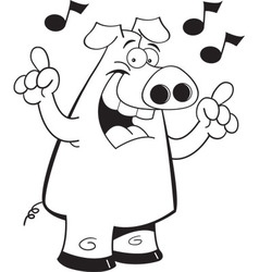 Cartoon pig with musical notes vector