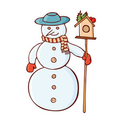 christmas snowman in a hat with nesting box vector image