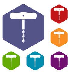 Corkscrew with a metal spiral icons set hexagon vector