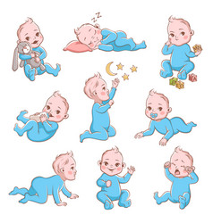 Cute baboy infant in diaper vector