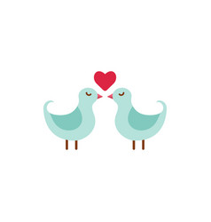 cute couple of birds with heart vector image