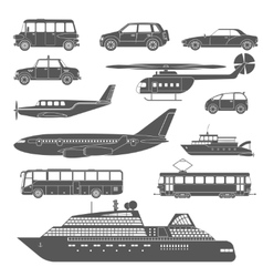 Detailed black and white transport icons set vector image