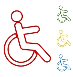Disabled sign Set of line icons vector
