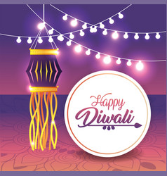 Diwali lantern with bulb lights hanging vector