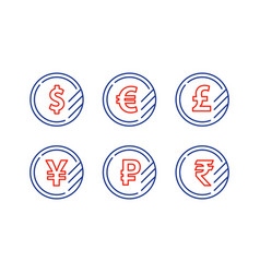 Dollar sign euro symbol pound icon ruble coin vector