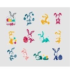 Easter Rabbit Icon Set Design Flat vector
