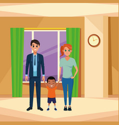 Family young parents with little kid vector