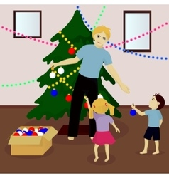 Father with children decorate Christmas tree vector