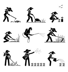 Female gardener cutting grass and planting trees vector