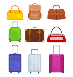 flat set of various bags travel suitcases vector image