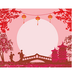Geisha silhouette at sunset - frame vector image