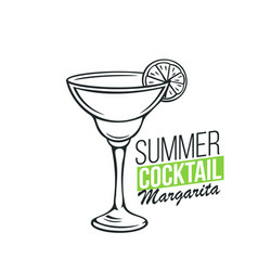 Glass of margarita cocktail vector