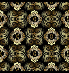 gold 3d greek key meander seamless pattern vector image