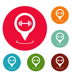 gym map pointer icons circle set vector image