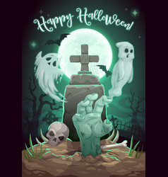 Halloween ghost monster zombie hand on cemetery vector