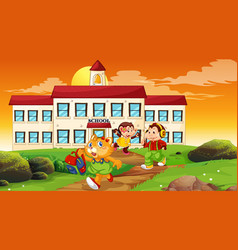 Happy children infront school building vector
