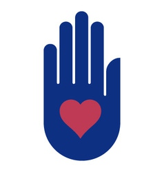 human hand holding heart vector image