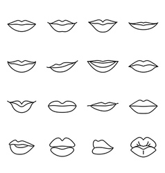 Icons of female lips vector