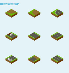 Isometric road set of way turn without strip and vector