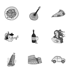 Italy country set icons in monochrome style Big vector