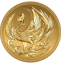 Japanese money gold coin with phoenix vector image