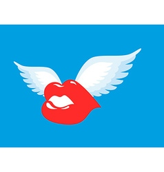Kiss with wings Flying winged Lips Romantic vector image