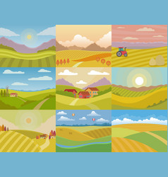 landscape meadow field landscaping vector image