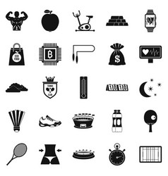 lawn tennis icons set simple style vector image