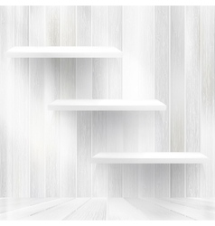 Layers Blank light wooden shelf EPS10 vector image