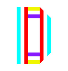 letter folded from two colorful tapes vector image