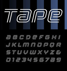 Linear italic font alphabet with stripes effect vector image