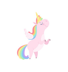 lovely unicorn with wings cute fantasy animal vector image