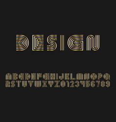 luxury gold striped font - design english vector image