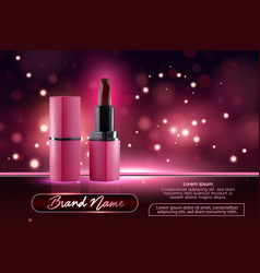 Makeup ads template charming red lipstick mockup vector