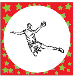 male handball player hand drawn vector image