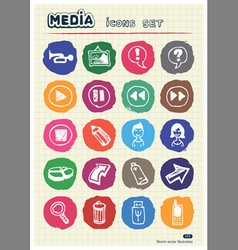 Media and arrows web icons set drawn by chalk vector image vector image