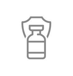 Medical ampoule and shield line icon vaccination vector