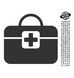 Medical kit icon with work bonus vector