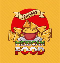 Mexican food delicious nachos cheddar spice vector