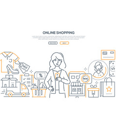 online shopping - modern line design style web vector image
