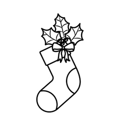 Ornament Christmas boots with leaves vector