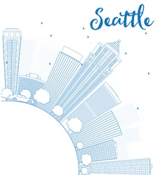 Outline Seattle City Skyline vector