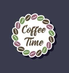 Paper sticker on stylish background bean coffee vector