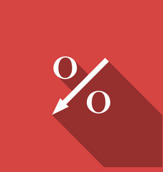 Percent down arrow icon isolated with long shadow vector