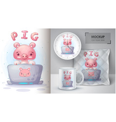 Pig works at notebook poster and merchandising vector