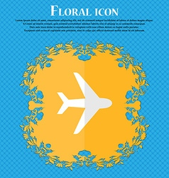 Plane Floral flat design on a blue abstract vector image