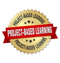 project-based learning round isolated gold badge vector image