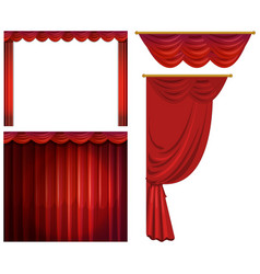 red curtains in different styles vector image
