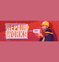 repair works cartoon ads banner with handyman vector image